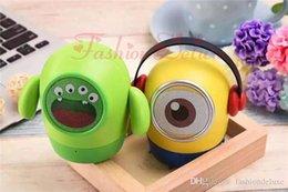 Wholesale Christmas Minion Usb - Minions Cartoon Mini Bluetooth Speakers for Halloween Christmas Portable Wireless Music Player support FM USB TF Handsfree Cute Subwoofer