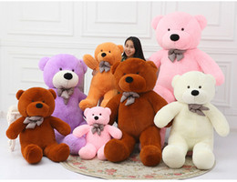 Wholesale Teddy Bear Giant Size - Toycity giant Teddy Bear stuffed skin white black bown pink purple yellow 5 Color 60 80 100 120 160 180 200cm size Valentine's Day giftJC65