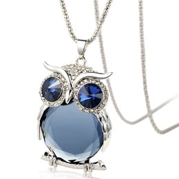 Wholesale Silver Owl Necklace Sweater Chain - The owl sweater long necklace pendant jewelry chain crystal clothing decoration