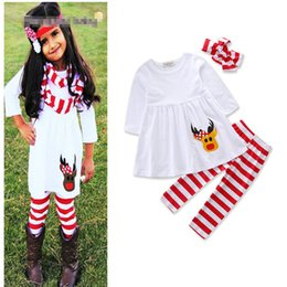 Wholesale Baby Girl Dress Trouser - Girls INS deer Elk suits Children Christmas long sleeve dress+Striped trousers+Hair band 3 pieces set suit Baby kids clothing B001