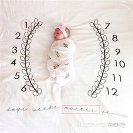 Wholesale Soft Swaddle Blankets - New Baby photography background blanket photo prop Baby backdrops infant Cotton Swaddling wrap soft Number print cloth mat 4 Colors BHB27