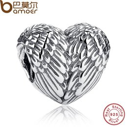 Wholesale Jewelry Made Feathers - Wholesale-Sculptural 925 Sterling Silver Angelic Feathers Wings Charm Fit BME Bracelet Silver 925 Jewelry Making PAS033