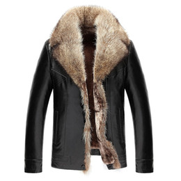 Wholesale Winter Jacket Fur Hood Mens - Mens Winter Coat Fur Inside Leather Jacket Real Raccoon Fur Hood Luxury Outwear Overcoat Warm Thickening Tops Plus Size 4XL 5XL 2017 Hot