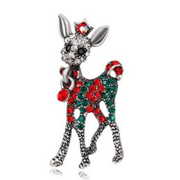 Wholesale Reindeer Brooch - wholesale fashion crystal deer Brooch Crystal Christmas Reindeer Brooch Colorful animal Deer Brooch Pin gift free shipping