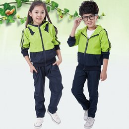 Wholesale Boys Leisure Pants - Spring children's clothing sportswear fashion children's clothing boys ladies leisure zipper jacket pants high school uniforms