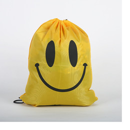 Wholesale Drawstring Bags For Children - fashion Cute Emoji Drawstring Bags for Women Men Children Cartoon Unisex Emoji Backpacks Fashion Smile Printed Student bags WA1632