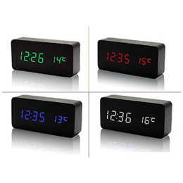 Wholesale Alarm Clocks Lights - Upgrade fashion LED Alarm Clock despertador Temperature Sounds Control LED night lights display electronic desktop Digital table clocks