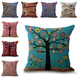 Wholesale Bird Bedding Sets - Carton Birds Flower Tree of Life Pillow Case Cushion Cover Square linen Cotton Pillowcase Cover sofa pillowslip bedding sets
