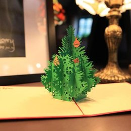 Wholesale Handmade Souvenirs - 10Pcs Merry Christmas Tree Greeting Cards Vintage 3D Laser Cut Pop Up Paper Handmade Greeting Cards Gifts Souvenirs Postcard L 50