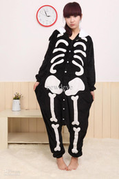 Wholesale Hot Kigurumi - Hot Sale Fashion Black White Skeleton New Kigurumi Pajamas Animal Cosplay Costume Unisex Bridal Undergarments In Stock