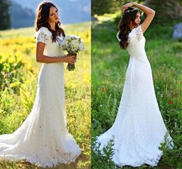 Wholesale Tulle Wedding Gowns Color Belt - 2017 Gorgeous V-neck Full Lace A-line Boho Wedding Dresses Country Style Sheer V-neck Short Sleeves Beaded Crystals Belt Bridal Gowns BA5434