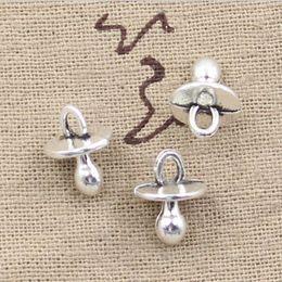 Wholesale Antique Pacifier - Wholesale 100pcs baby pacifier binky teether charms 13*10mm Antique pendant fit,Vintage Tibetan Silver,DIY for bracelet necklace