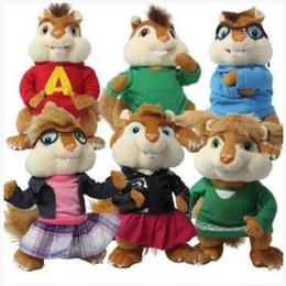 Wholesale Alvin Chipmunks Plush - Wholesale- 6PCS SET 28cm 40cm Alvin and The Chipmunks Plush Toys Kawaii Chipmunks Jeanette Stuffed Animal Dolls Kids Christmas Gifts