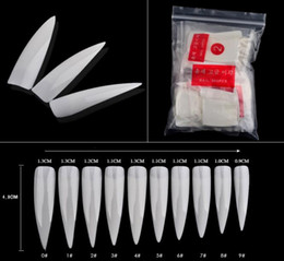 Wholesale Long Nails Tips - 500pcs set Long Sharp Stiletto False Acrylic Nail Art Tips Artificial Half Cover Fake Nails White Natural Transparent 3 Options