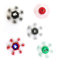 Wholesale Painting Alloys - Cartoon Painted Hexagon Hand Spinner Captain America Spiderman Hulk Alloy Fingertips Spiral Fingers Gyro Fidget Spinner with Retail Package