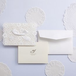 Wholesale Butterfly Envelopes - Lace Wedding Invitations Elegant Embossed White Ribbon Butterfly Envelope Paper Custom Wedding Invitation Cards Wishmade cw5059
