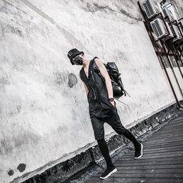 Wholesale Fashion Jumpsuit Harem - Fashion Harajuku Gothic Rompers For Men Mens Striped Jumpsuit Harem Cargo Overalls Summer Hip-Hop Casual Bibs Pants