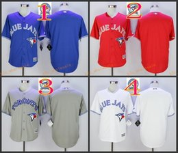 Wholesale Blank Jerseys White - 2017 Cheap Majestic Official Cool Base MLB Stitched 40th Season Toronto Blue Jays Blank White BLue Red Gray Jerseys Mix Order