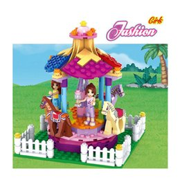 Wholesale Princess Building Blocks - AUSINI 2017 New Dream princess Girl Building Blocks Carousel park Blocks Kids Educational Bricks Toys DIY for children