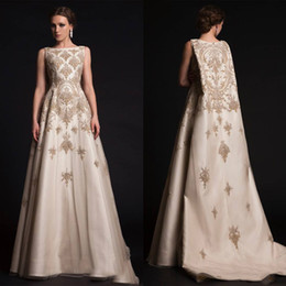 Wholesale Satin Organza Dress - 2017 Krikor Jabotian Dresses New Arabic Middle East Evening Gowns with Cloak Cape with Gold Appliques