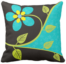 "Wholesale Turquoise Cushion Covers - Throw Pillow Case, Bold turquoise flower decorative Square Sofa and Car Cushions Cover, ""16inch 18inch 20inch"", Pack of X"