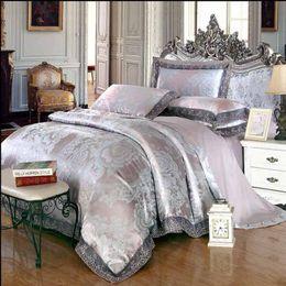 Wholesale Lace Quilt Cover - Lace Home Textile Tribute silk Jacquard bedding set Luxury Satin quilt duvet cover bed sheet linen pillowcase bedclothes