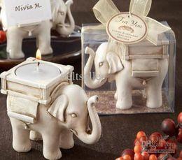 velas do casamento do elefante Desconto Frete grátis fornecimento de festa de casamento Elephant vela titular (withTea luz) presente de casamento 10 pçs / lote