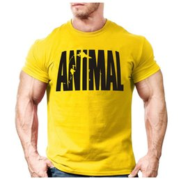 Wholesale Long Shirt Trend Men - Wholesale- Animal print tracksuit t shirt muscle shirt Trends in 2016 fitness cotton brand clothes for men bodybuilding Tee large XXL
