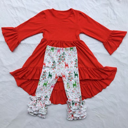 Wholesale Casual Kids Leopard Dresses - New Girls Clothes Christmas Kids Outfit Red Ruffle Sleeve Dress Icing Ruffle Reindeer Pants 2 Pcs Set