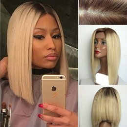 Wholesale blonde bob wigs - 10A 1B 613 Blonde Human Hair Wigs With Baby Hair Peruvian Virgin Bob Lace Front Wigs Blonde Full Lace Wig For Black Women