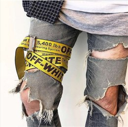 Wholesale Belt Boys - OFF White Yellow Letters Logo Belts Unisex Sexy Hip Hop Punk Men Women 2Meter Canvas Belt Fashion Kanye West Rihanna Gigi Hadid Stars