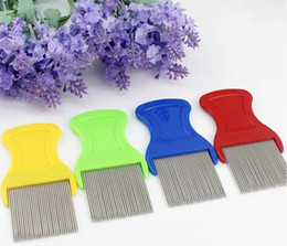Wholesale Cleaning Cat Hair - Pet Dog Cat Clean Comb Brush Dog Hair Grooming Tool Stainless Steel Long Needle Nit Lice Comb Pet Flea Comb Catching Lice 100pcs lot