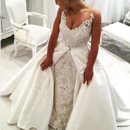 Wholesale Wedding Dress Detachable Cape - 2017 Sexy Mermaid Lace Wedding Dresses Sheer Straps 3D Appliques Long Detachable Bridal Gowns High Quality Bride Dresses with Capes