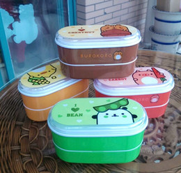 Wholesale Plastic Lunchboxes - High Quality Cartoon Healthy Plastic Lunch Box 600ml Bento Boxes Food Container Dinnerware Lunchbox Cutlery with Chopsticks