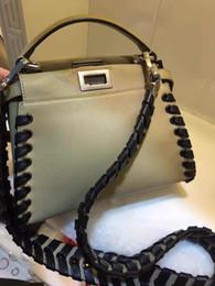 Wholesale Body Wave Weave Brands - 2017 Women Peekaboo Bag weaving Famous Brand Designer Tote Big Handbag Shoulder Bags Printing Rivet Waves messenger Luxury Bags Purse