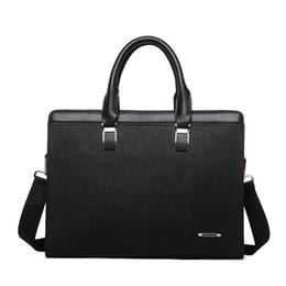 Wholesale Men S Business Briefcases - Wholesale- New 14inch Laptop Bag Famous Brand Business Men Briefcase Bag Luxury Leather Laptop Bag Men 's leisure package bolsa maleta