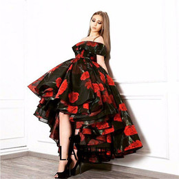 Wholesale Evening Dresses Flower Print - New Arrival 2017 Off the Shoulder Rose Flowers Think Organza Fabric Custom made Front Short Long Back Print Fashion Evening Dress HB30