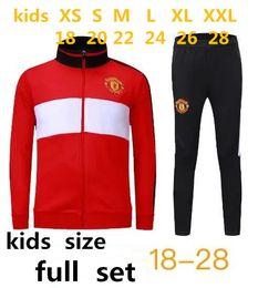 Wholesale Kids Football Suits - AA quality 2017 2018 Man Utd POGBA KIDS Football jacket tracksuit 17 18 LUKAKU de foot LINDELOF UNITED MKHITARYAN KIDS jacket Training suit.