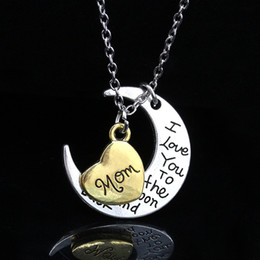 Wholesale Love Heart Sweet Fashion - Fashion Vintage Family Member Letter Pendant Necklace Women Men I Love You To The Moon And Back Silver Warm Sweet Jewelry Gifts