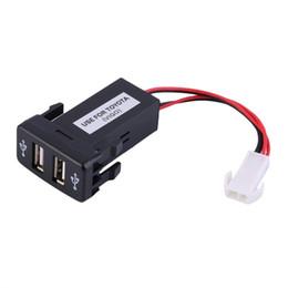 Wholesale car audio for toyota - VIGO Auto Car 2.1A Dual USB Port Charger Dashboard Mount For Phone + Audio Input for Toyota VIGO