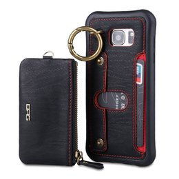 Wholesale Portable Back - For iphone 6 6s 7 plus BRG Genuine Leather Wallet Case Portable Zipper Card Slot Phone Back Cover For iphone 7 6 plus