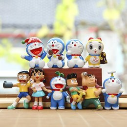 Wholesale Japan Gift Toy - Children Japan 10pcs set Doraemon PVC Action Figures Cartoon Anime Manga cosplay Nobita nobi figure mini figurines Model dolls toys Gift