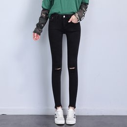 Wholesale Size Xs Pants For Women - New Fashion Lulu Rip Black Jeans for Woman Jeggings Flash Pant Slim Casual Solid Long Plus Size