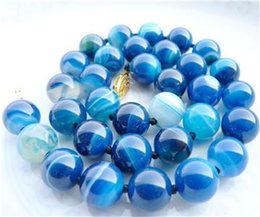 Wholesale Antique Sterling Silver Necklaces - Natural Bead GEMS STONE Limited Blue 10MM ANTIQUE ART DECO GENUINE RARE BLUE CHALCEDONY AGATE BEADS NECKLACE
