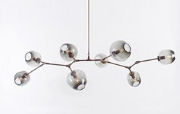Wholesale Lamp Modern Cottage - Lindsey Adelman Chandeliers Lighting Modern Globe Glass Bubble Pendant Lamp Natural Tree Branch Suspension Light Hotel Dinning Room Light