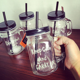 Wholesale Transparent Glasses Straws - 450MLGlass Cup storage bottle Jars Mason Jar Mug beverage mug with lid straw juice bottle with handle