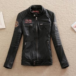 Wholesale First Motorcycle Jacket - M-3XL 2017 Men's Women's first layer of cowhide leather clothing short design lovers slim motorcycle genuine leather jacket