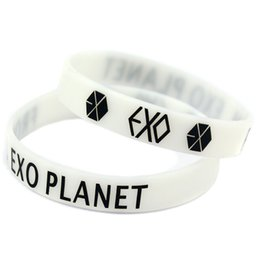 Wholesale Silicone Wristband Printed Logo - Wholesale Shipping New Arrival 100PCS Lot Printed Logo From EXO Planet Silicone Wristband for Music Fans