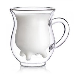 Wholesale Double Wall Glass Cup Milk - Wholesale- Double Wall Glass Cups Creative Handmade Milk Mug Clear Drinkware Mugs
