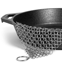 Strumento in ghisa online-20 * 15cm Finger Iron Cleaner in acciaio inox Chainmail Scrubber Ringer Cast Iron Chain Cleaner lavavetri Strumento di pulizia della cucina